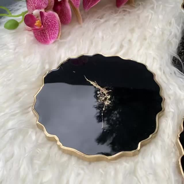 Black & Gold coasters set, handmade with resin